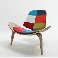 Hans Wegner style Three Legged Shell Chair in Patchwork Fabric