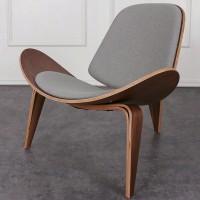 Hans Wegner style Three Legged Shell Chair in Grey Fabric