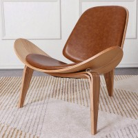Hans Wegner style Three Legged Shell Chair in Aniline Leather