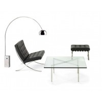 Barcelona Chair with ottoman in Italian Leather with a barcelona table plus an arco lamp as a gift