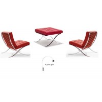 2Pcs Barcelona Style Chairs In Red With An Ottoman Plus A Free Arco Lamp As A Gift