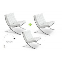 3pcs Barcelona Style Chairs in White in Italian Leather of Standard Quality plus a free arco lamp as a gift