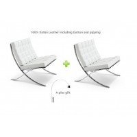2 Barcelona Style Chairs In White Full Italian Leather Plus A Free Arco Lamp As A Gift