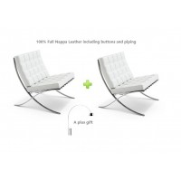 2 Barcelona Style Chairs in White Full Nappa Leather plus a free arco lamp as a gift