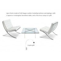 2 Barcelona Style Chairs In White Full Grain Italian Leather And 1 Barcelona Table Plus A Free Arco Lamp As A Gift
